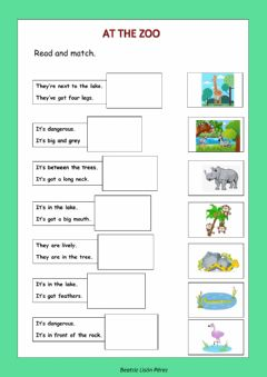 Interactive worksheet At the zoo. Read and match