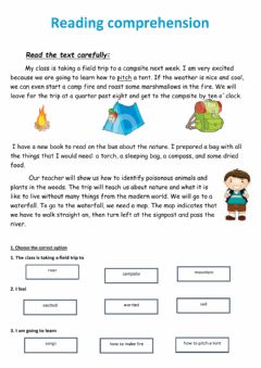 Interactive worksheet At the campsite reading