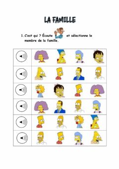 Interactive worksheet La famille Simpson