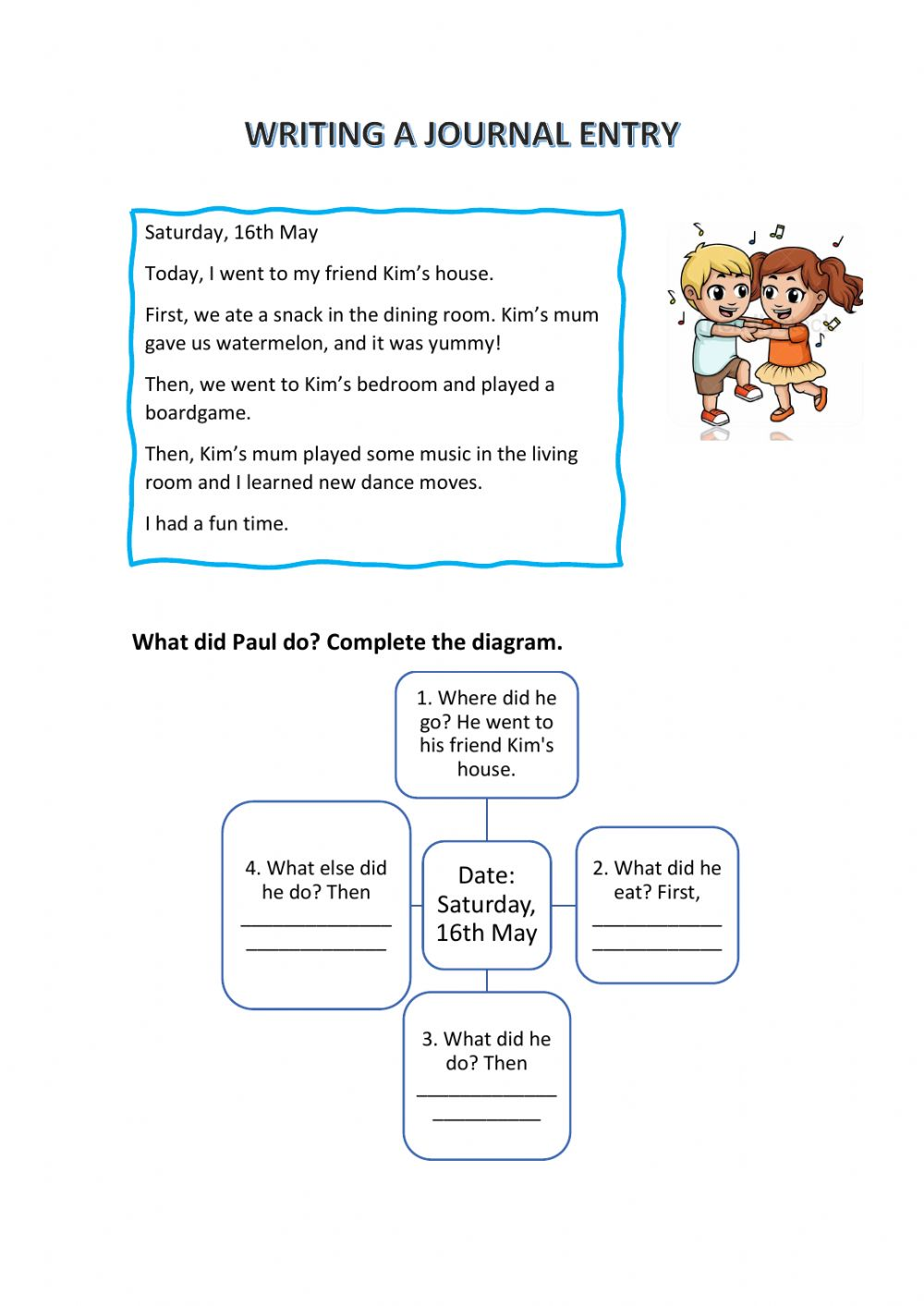 Writing a journal entry worksheet