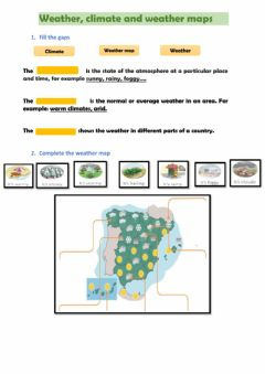 Interactive worksheet Weather, climate and weather maps