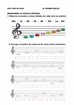 Interactive worksheet Notas musicales