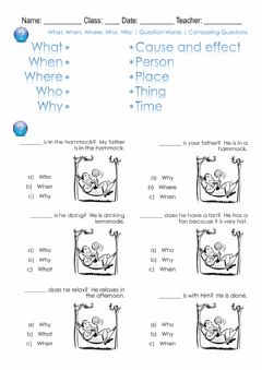Ficha interactiva What, When, Where, Who, Why - Question Words - Comparing Questions