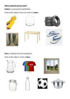 Interactive worksheet What materials do we need? Rubber and Glass