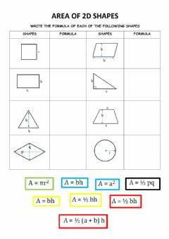 Interactive worksheet Area of 2d shapes