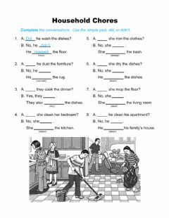 Interactive worksheet Household Chores - Yes-No Questions