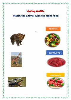 Interactive worksheet Eating habits animals