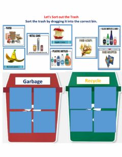 Interactive worksheet Trash receptacles, recycle