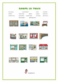 Interactive worksheet Shops in town