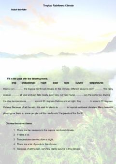 Interactive worksheet Tropical rainforest climate