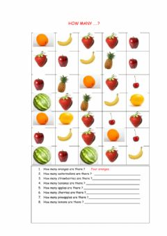 Interactive worksheet How many fruits