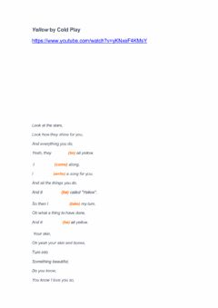 Interactive worksheet Song - Yellow by Coldplay
