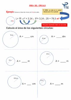 Interactive worksheet Área del círculo