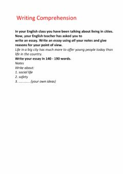 Interactive worksheet Writing Comprehension