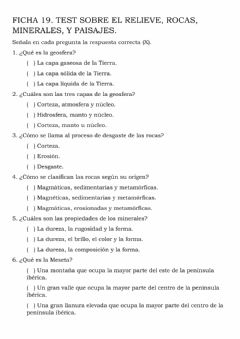 Interactive worksheet TEST. rELIEVE, PAISAJES, MINERALES Y ROCAS