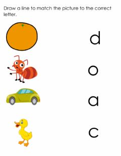 Interactive worksheet Letter o,c,a,d recognition and association