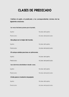 Interactive worksheet Clases de predicado