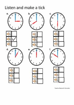 Interactive worksheet Whole hours