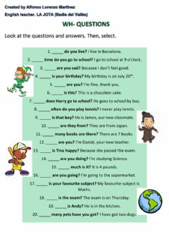 Interactive worksheet Wh- Questions
