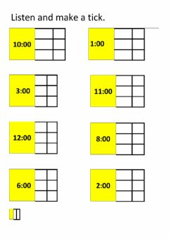 Interactive worksheet Whole hours listening