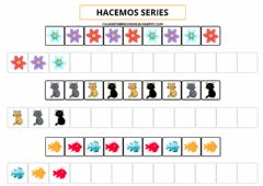 Ficha interactiva Series de 3 elementos colores