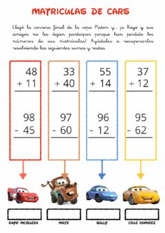 Interactive worksheet Matrículas de cars