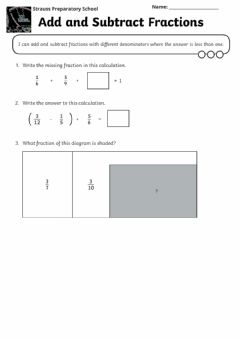 Ficha interactiva Add and Subtract Unlike Fractions (Reasoning)