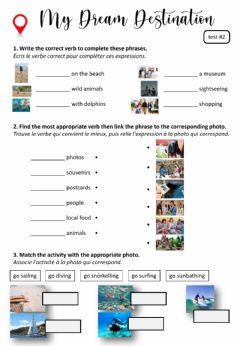 Interactive worksheet Tourism activities