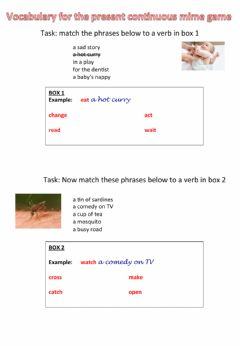 Interactive worksheet Phrases for a present continuous mime game