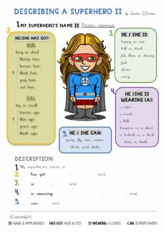 Interactive worksheet Describing a Superhero 2