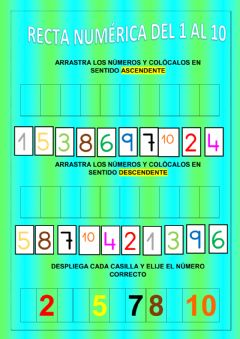 Interactive worksheet Recta numérica del 1 al 10