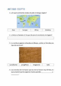 Interactive worksheet Antiguo Egipto