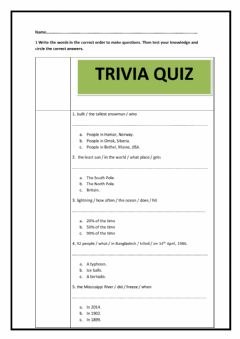 Ficha interactiva Subject- Object questions trivia