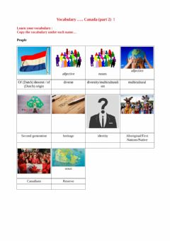 Interactive worksheet Learn vocabulary Canada part 2