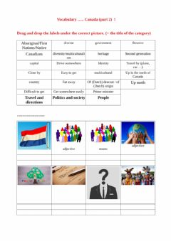 Interactive worksheet Drag and drop Canada Vocabulary 2