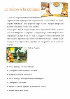 Interactive worksheet La volpe e la cicogna