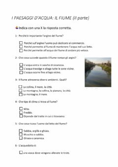 Interactive worksheet Verifica sul fiume: seconda parte