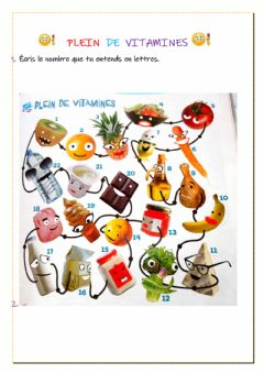 Interactive worksheet Plein de vitamines