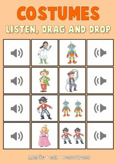 Ficha interactiva Costumes - Drag and drop