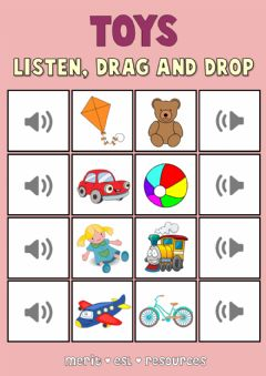 Ficha interactiva Toys - Drag and drop