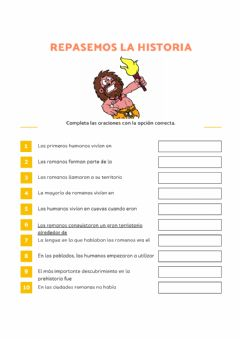 Interactive worksheet Repaso Prehistoria y Edad Antigua