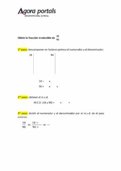 Interactive worksheet Fracción irreducible