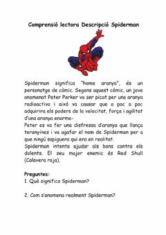 Interactive worksheet Comprensió lectora: Spiderman
