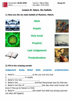 Interactive worksheet Islam