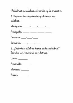Interactive worksheet Sílaba, palabra, verbo, oración