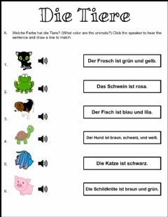 Interactive worksheet Tiere