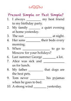 Interactive worksheet Present Simple, Past Simple