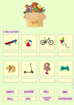Interactive worksheet TOYS- drag and drop by Mariola