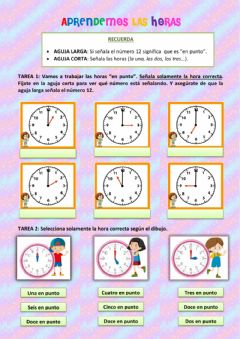 Interactive worksheet Hora y media hora