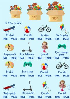 Interactive worksheet Toys-true or false by Mariola